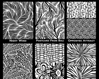 Silkscreen collection, get all 6 of the 2016 collection by Helen Breil beautiful crisp designs perfect for silkscreening on polymer clay