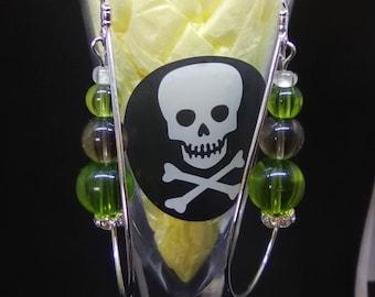 Green and Gray dangle earrings in teardrop hoops