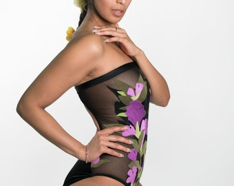 Strapless one piece with purple irises