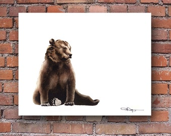 Brown Bear Art Print - Watercolor Painting - Wall Decor