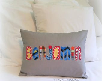 Boys Name Pillow-Handmade Zipper Pillow Cover-12x16- Kids Bedroom Decor-Keepsake Gift-Appliqued Name-Custom Name Pillow-Insert Included