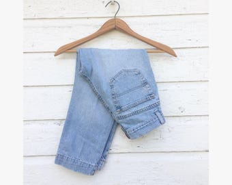Sz 4 Small - 1990's Tommy Hilfiger Capris - Light Wash Jeans - Split