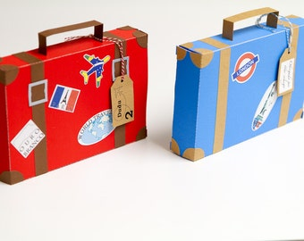 Airplane party favor boxes (set of 4) Luggage  favor boxes Personalized