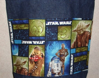 New Large Denim Tote Bag Handmade with Star Wars Characters R2D2 C3PO Chewbacca Yoda Fabric