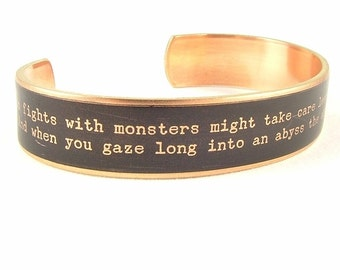 Existential Crisis - Nietzsche Quote - German Literary Gift - Skinny Cuff Bracelet - Philosophy - Unique Gift - Gifts For Him or Her