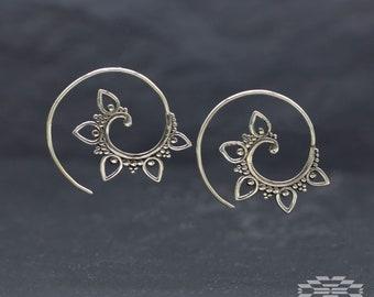 Espiral plata Ley, pendientes plata, aros indios, aros hippies, aros étnicos tribales, joyería hindú, joyería étnica