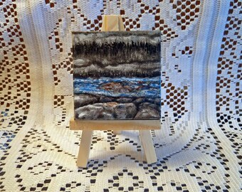 Mini canvas painting, Small Format Art, Nature painting, Miniature painting, Mini card and Easel included, Tiny Art, Small painting,