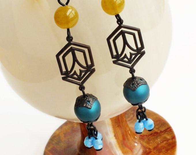 Blue Green Beaded Dangle Earrings Long Art Deco Dangles Earrings Vintage Beaded Art Deco Jewelry Teal Olive