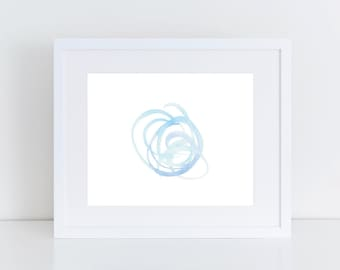 Blue Abstract Circles Watercolor Print | Abstract Watercolor Print | Blue Watercolor Print | Nursery Art | Abstract Gallery Wall Art