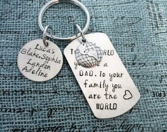 ON SALE Father's Day, Hand stamped Aluminum Key chain with globe charm. Father's Day gift, Grandfather, Brother, brother, uncle, family gift