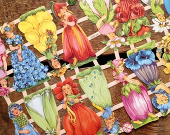German Scraps - Flower Girls - Die Cuts, Cut Outs, Reproduction, Vintage Style, Vintage Inspired, Paper Ephemera, Little Ladies, Floral Girl