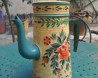 RESERVED Hand Painted Coffee Pot, Vintage French Coffee Pot, Collectible French Pot.  Housewarming Gift, Kitchenalia.  Flowerpot. Gift.