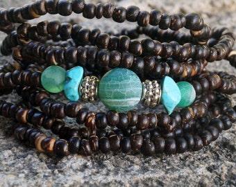Boho Wrap Bracelet, Coconut Wrap Bracelet, Gemstone Wrap Bracelet
