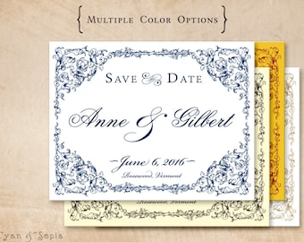 Ornate Frame - Wedding Save the Date Design, DIY 4x5 Postcard - Formal Elegant Vintage - Navy Blue White, Brown Ivory, Red Yellow, Gold