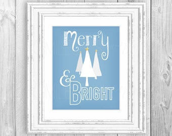 Merry and Bright Christmas Print Merry & Bright Printable Christmas Tree Print Merry and Bright Christmas Tree Print Blue Holiday Art Decor