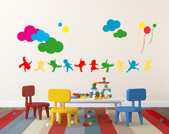 Vinyl Kids Wall Decal, Wall Decal Kids Clouds Balloons, Wall Sticker Home Decor, Wall Decals, Wall Sticker Removable, Vinyl Wall Decal