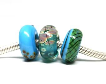 Turquoise Blue charm beads Blue Green European bracelet beads set Artisan lampwork large hole beads Boho style Murano glass by MayaHoney SRA