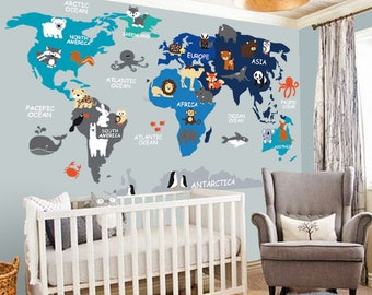 Wall decals murals etsy nz nursery wall decal wall decal nursery world map decal map decal children gumiabroncs Gallery
