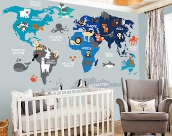 Nursery Wall Decal   Wall Decal Nursery   World Map Decal   Map Decal    Children Wall Decal   Map Wall Decal   World Decal  World Map
