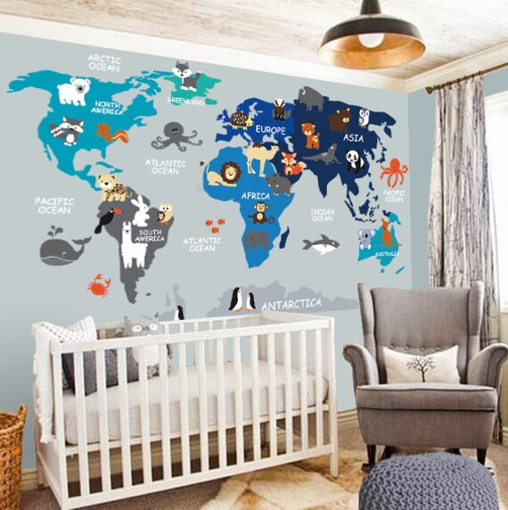 Nursery wall decal wall decal nursery world map decal like this item gumiabroncs Images