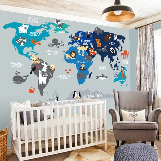 nursery wall decal wall decal nursery world map decal. Black Bedroom Furniture Sets. Home Design Ideas