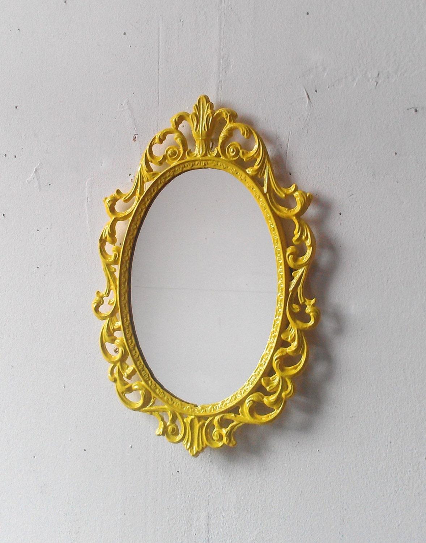 Yellow Princess Mirror in Vintage Metal Frame Ornate Oval 10