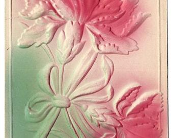 Vintage Postcard  - Embossed - Airbrushed - Pink Green Floral