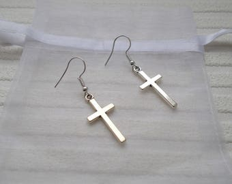 silver cross earrings simple earrings cross jewellery gift for women cross gift for partner friend mum simple jewellery cross accessories