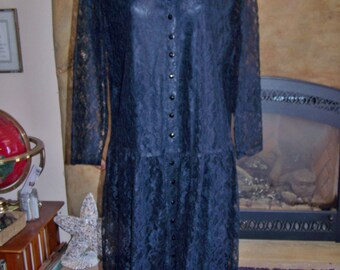 PLUS Size, Dress, Black, Lace, Long sleeve, Funeral, 1X