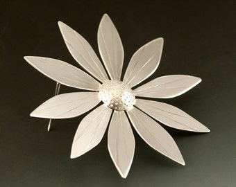 Big Flower Brooch in Sterling Silver like a Black Eyed Susan, a SunFlower jewel, Brooch #36, One of a Kind, Ready to Ship