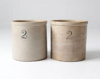antique stoneware crocks, MaComb pottery set/2, 2 gallon crocks
