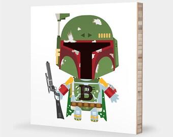 Star Wars nursery art | Boba Fett - Star Wars kids decor, Star Wars bedroom, Boba Fett decor, Star Wars baby - Star Wars ABC bamboo wall art