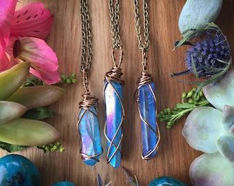 Aqua aura necklace, aqua aura crystal, aqua aura quartz, aqua aura
