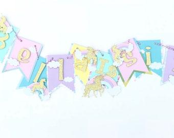 Rainbow happy birthday banner, Rainbow theme birthday banner, pastel rainbow birthday decorations, rainbow party supplies