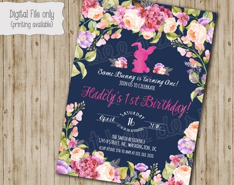 Bunny Birthday Invitation // Easter Birthday Invite // Girl Birthday Invite // Kids Birthday // Typography // Watercolor Floral
