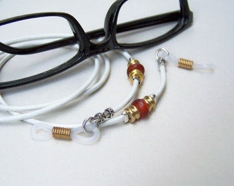 Unisex Leather Eyeglass Chain, Red Horn Bead, 2mm Cord, Chain for Glasses, Eyeglass Necklace, Custom Length 24-32 Inches by Eyewearglamour