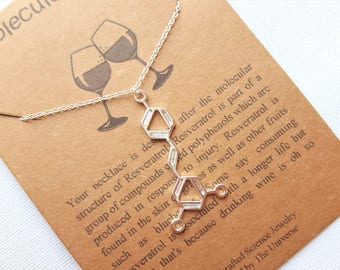 Chemical symbol etsy resveratrol wine molecule necklace vertical horizontal sideways upright alcohol molecule science chemistry symbol urtaz Images
