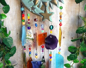 Celestial Art, Bronze Sun and Stars, Upcycled Sconce, Handmade Stained Glass Wind Chime
