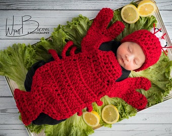 Lobster Crab Crawfish Beanie Critter Cape Set Crochet Newborn Photography Prop/Baby Shower Gift