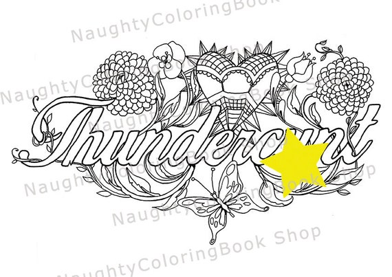 Thundercunt coloring page for adults Sweary Adult coloring