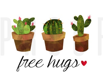 Digital Cacti | Free Hugs | Heart | Cactus | Instant Download | Digital Print