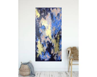 Large Abstract Painting , Dark Blue Gold Original Painting , Blush Modern Wall Art 24x48 , Large Contemporary Bold Canvas Art