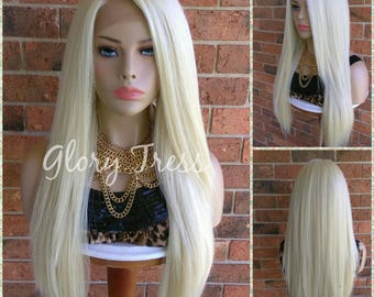 ON SALE // Custom Long & Straight Lace Front Wig, 100% Human Blend Wig, Platinum Blonde Wig, Free Parting, Soft Swiss Lace// NAOMI