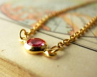 Red Choker Necklace. Dainty Gold Chain. Simple Red CZ Glass. Minimalist Jewelry. Minimal Choker Necklace. Simple Red Necklace.