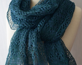 Linen Shawl Lace Scarf  Knitted Natural Summer Wrap in Green  Blue Teal Women Accessory