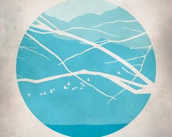 Turquoise Mid Century Modern Art, Teal Art Print, Mountains, Japanese Print
