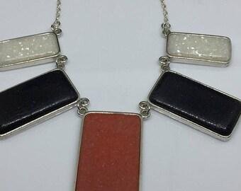 2018 C CO. Black Hills 925 Sterling Stone Bib Necklace