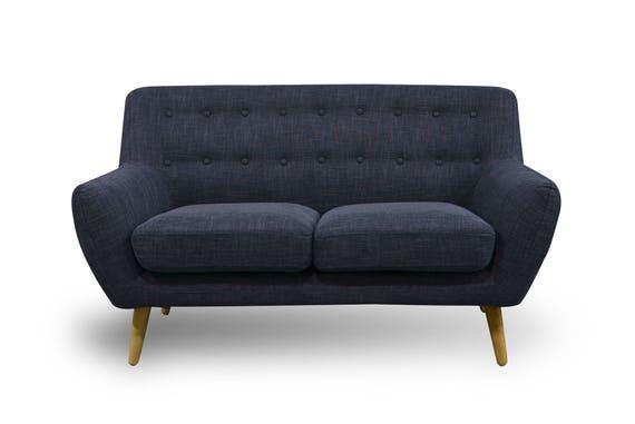 2 seater sofa retro scandinavian compact design charcoal grey. Black Bedroom Furniture Sets. Home Design Ideas