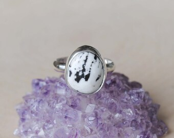 White Buffalo Turquoise Ring - White Buffalo Ring - White Buffalo Turquoise Jewelry (MADE TO ORDER)