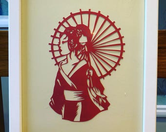 Chinese lady papercut A4 framed